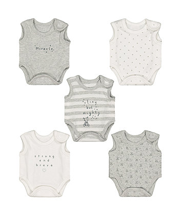 Mothercare Grey Premature Baby Bodysuits – 5 Pack