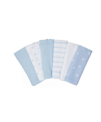 Mothercare Blue Muslins - 6 Pack