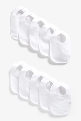 Mothercare White Terry Bibs - 10 Pack