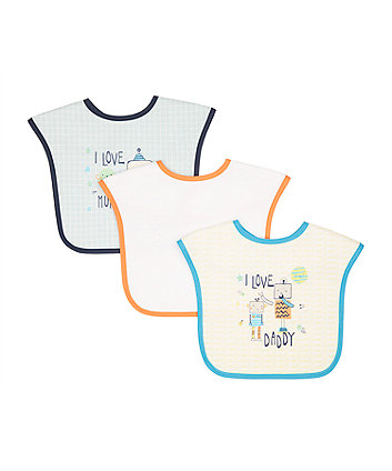 Mothercare mummy and daddy weaning bibs - blue