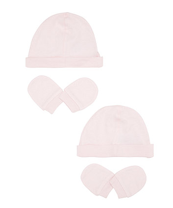 Mothercare Pink Hat And Mitts Set