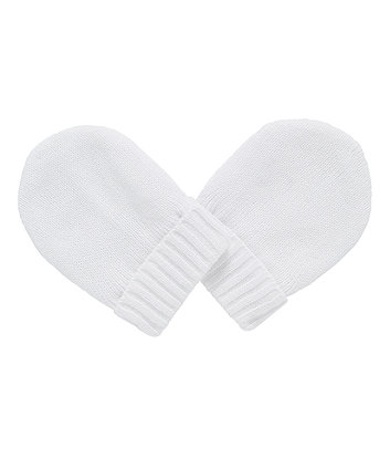 Mothercare White Knitted Mitts