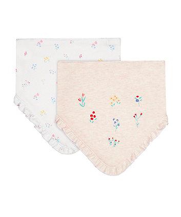 Mothercare Floral Design Newborn Dribbler Bibs - 2 Pack