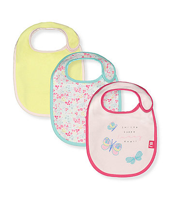 Mothercare Butterfly Newborn Bib - 3 Pack