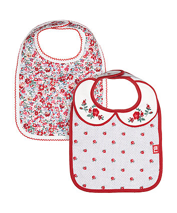 Mothercare Newborn Heritage Flowers Bibs - 2 Pack