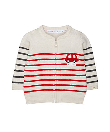 Mothercare Car Stripe Knit Cardigan