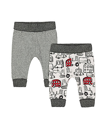 Mothercare Bus And Stripe Joggers - 2 Pack