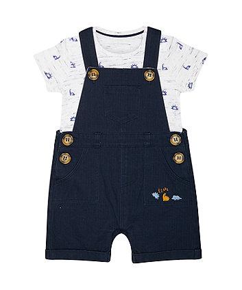Mothercare Navy Woven Bibshorts And Dinosaur Bodysuit Set