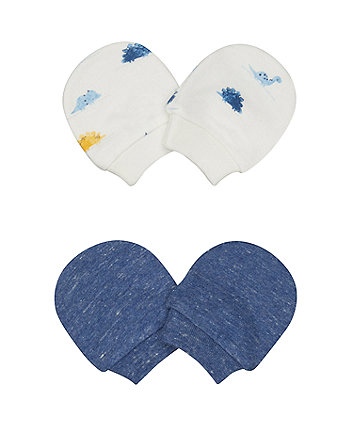 Mothercare Dinosaur White And Navy Scratch Mitts