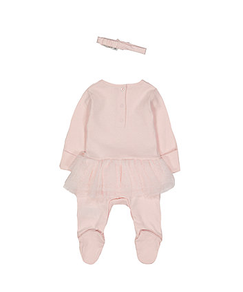3756ca2d6c0 mothercare my first σετ φορμάκι all in one με τούλι και κορδέλα μαλλιών