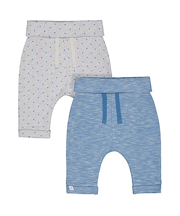 Mothercare My First Blue Star And Bear Joggers - 2 Pack
