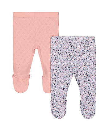 Mothercare Pink Pointelle And Floral Leggings - 2 Pack