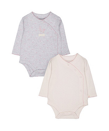 Mothercare My First Spot And Bow Wrap Bodysuits – 2 Pack