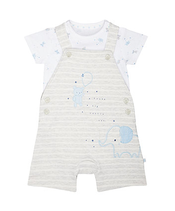 Mothercare My First Stripe Bibshorts And Bear Bodysuit Set