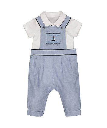 Mothercare Boat Dungarees And White Bodysuit Set