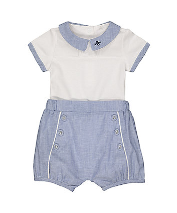 Mothercare White And Blue Bodysuit And Shorts Set