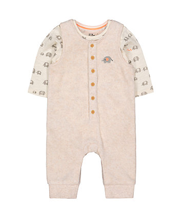 Elephant Velour Dungarees And Bodysuit Set