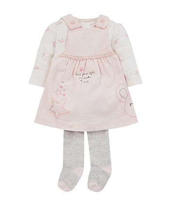 Mothercare My First Cord Dress, Bodysuit And Tights Set