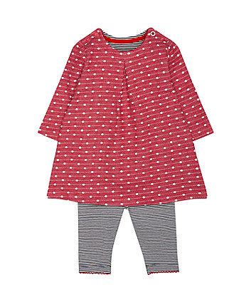 Mothercare Red Polka Dot Dress And Stripe Leggings Set