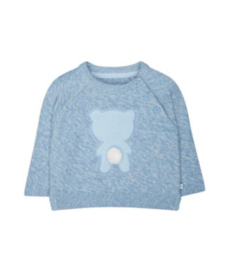 Mothercare My First Blue Knit Bear Jumper