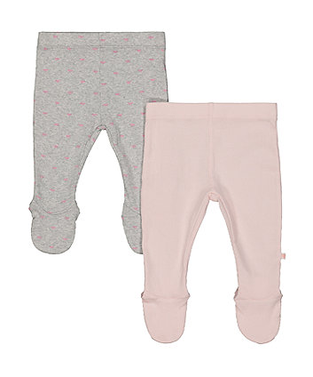 My First Bow And Pink Ribbed Leggings With Feet - 2 Pack