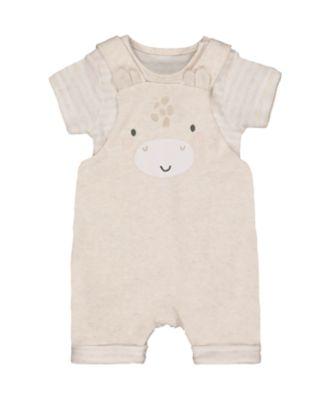 Mothercare My First Little Zoo Cream Giraffe Bibshorts And Stripe Bodysuit Set