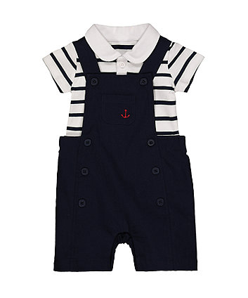 Mothercare Anchor Navy Bibshorts And Stripe Bodysuit Set