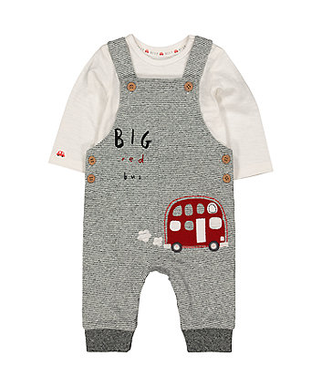 Mothercare Striped Bus Dungarees And Bodysuit Set