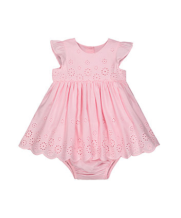 Mothercare Pink Broderie Frill Dress And Knickers Set