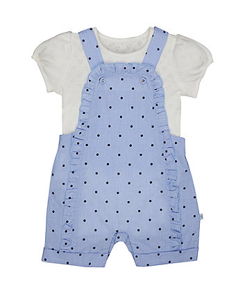 Mothercare Blue Spot Frill Dungarees And White Bodysuit Set