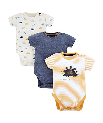 Mothercare Striped Dinosaur Bodysuits - 3 Pack