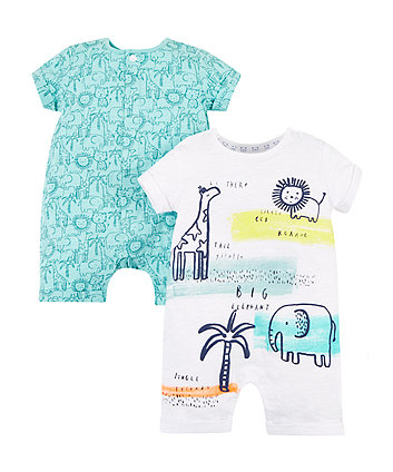 Mothercare Jungle Rompers – 2 Pack