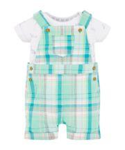 Mothercare Green Check Bibshorts And Animal Bodysuit Set