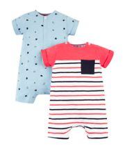 Red Stripe And Blue Whale Rompers - 2 Pack