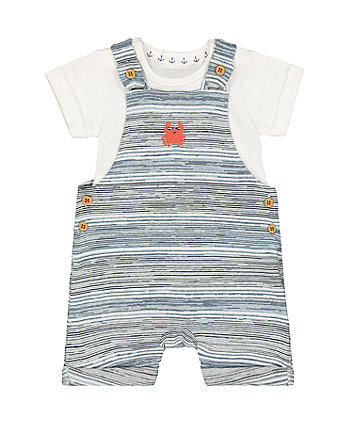 Mothercare Stripe Crab Bibshorts And White Bodysuit Set