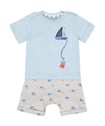 Mothercare Boat And Whale Mock T-Shirt Romper