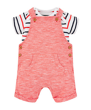 Mothercare Red Bibshorts And Stripe Bodysuit Set