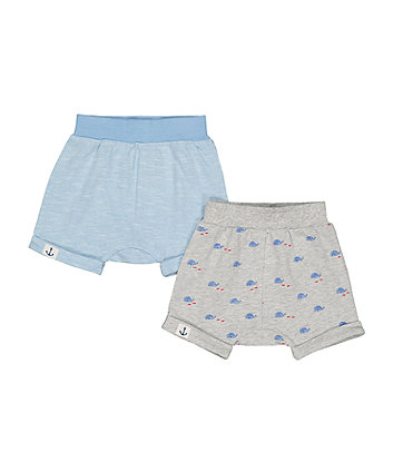 Grey Whale And Blue Shorts - 2 Pack
