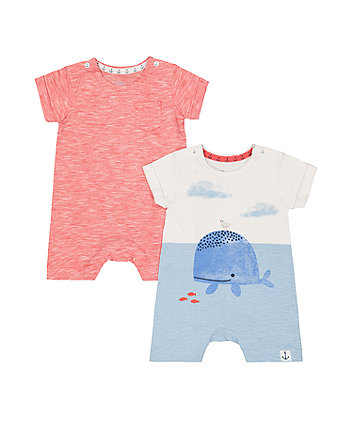 Mothercare Whale And Red Rompers – 2 Pack