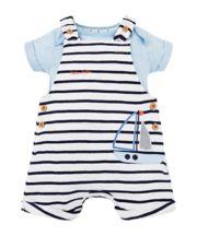 Mothercare Stripe Boat Bibshorts And Blue Bodysuit Set