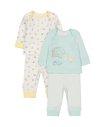 Mint Elephant Pyjamas - 2 Pack