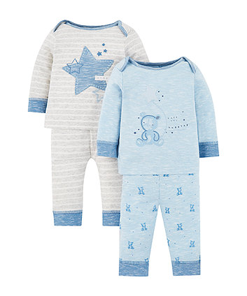 Mothercare My First Teddy Bear Pyjamas - 2 Pack