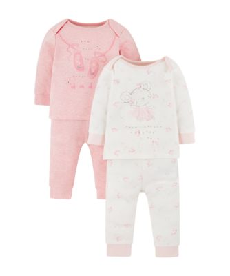Mothercare My First Little Bunny Pink Pyjamas - 2 Pack