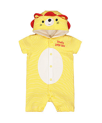 Mothercare Yellow Lion Hooded Romper