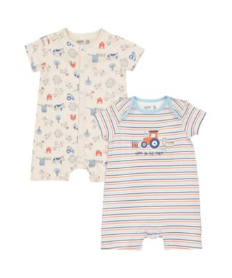 Mothercare Farm Rompers - 2 Pack