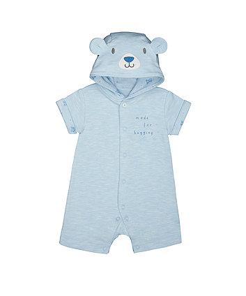 Blue Teddy Hooded Romper