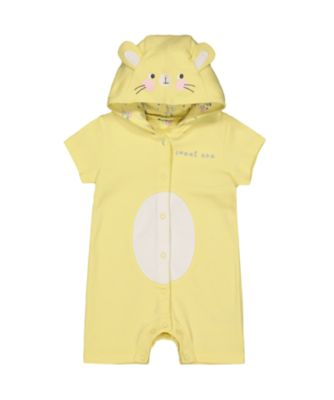 Mothercare Yellow Bunny Hooded Novelty Romper