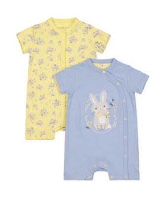 Mothercare Little Blue Bunny And Floral Rompers - 2 Pack