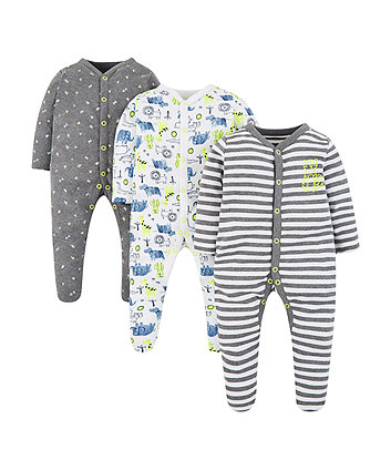 Mothercare Happy Animals Slepsuits - 3 Pack