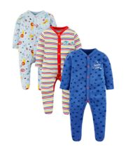 Mothercare Safari Animal Sleepsuits - 3 Pack